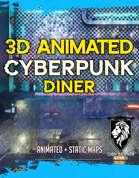 3D Animated Cyberpunk Diner & Alleys Battlemap