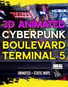 Animated Cyberpunk Boulevard Terminal 5 Map