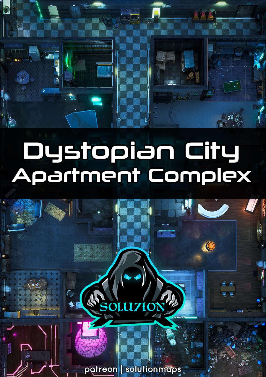 Dystopian City Apartment Complex 1080p - Cyberpunk Animated Battle Map