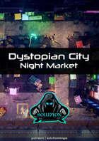 Dystopian City Night Market 1080p - Cyberpunk Animated Battle Map
