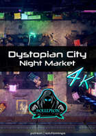Dystopian City Night Market 4K - Cyberpunk Animated Battle Map