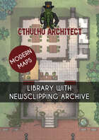 Cthulhu Architect Maps - Library with Newsclipping Archive - 19 x 28