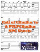 Call of Cthulhu 7e & Pulp NPC Sheets