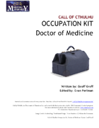 Call of Cthulhu Occupation Kit: Doctor of Medicine