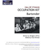 Call of Cthulhu Occupation Kit: Bartender