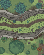 Virtual Table Top map - Ravine with path and camp
