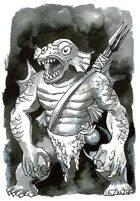 Deep One Fishman warrior clip art image