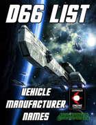 d66 Vehicle Manufacturer Names