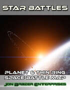 Star Battles: Planet and Thin Ring Space Battle Map (VTT)