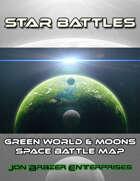 Star Battles: Green World & Moons Space Battle Map (VTT)
