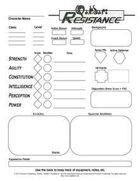Qalidar: Resistance RPG Character Sheet