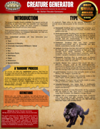 Creature Generator - Randomised Creatures for Savage Worlds