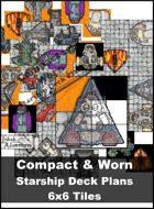 Compact & Worn Starship Deck Plan 6x6 Tiles
