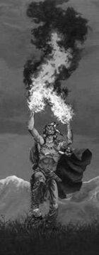 Infinite Images - Stock Illustration - Elemental Fire Shaman v3 - Half Page, GS 150ppi