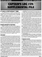 Captain's Log #39 Supplement