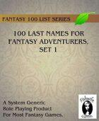 100 Last Names For Fantasy Adventurers, Set 1