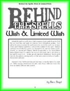 Behind the Spells: Wish & Limited Wish