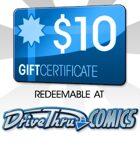DriveThruComics $10 Gift Certificate/Account Deposit