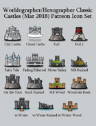 Hex/Worldographer Classic Style Castles World Map Icons