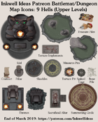 Dungeon/Battlemat 9 Hells Upper Levels Map Icons (Any Editor)