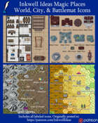Worldographer Magic Sources/Places Battlemat, Settlement, and World/Kingdom Map Icons