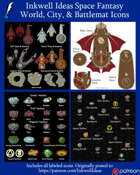 Worldographer Space Fantasy Battlemat, Settlement, and World/Kingdom Map Icons