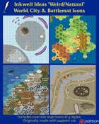 Worldographer Weird Natural Battlemat, Settlement, and World/Kingdom Map Icons