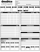 OneDice Supers Character sheet