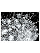 Dwarf fighting skeletons stock art