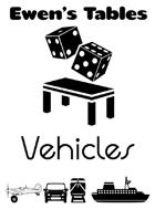 Ewen's Tables: Vehicles