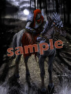 Image- Stock Art- Stock Illustration- Undead Knight riding a horse