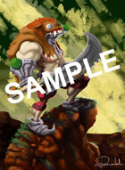 Image- Stock Art- Stock Illustration- Warrior with armor and lion's skin