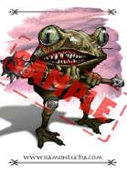Image - Stock Art - Grayscale - Stock Illustration - rpg - Warrior - frog - Mutant - Monster
