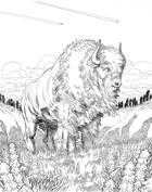 OE Stock Art - Buffalo and Man on the Plains
