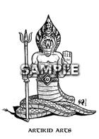 Serpent-man statue