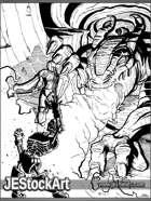 PWYW JEStockArt - Adventurers vs Dragon in Cave