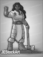 JEStockArt - Fantasy_Cleric - Stout Female Cleric with Hammer - GNB