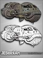 JEStockArt - SciFi - Oblong Space Cruiser - GNB