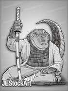 JEStockArt - Fantasy_Lycan - Gator Martial Artist with Sword - GNB