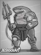 JEStockArt - Fantasy_Lycan - Shark Gladiator with Trident - HQGNB