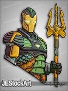 JEStockArt - Fantasy - Atlantean Soldier in Armor with Trident - CNB