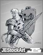 JEStockArt - Fantasy - Sketchy Paladin without Helmet - LNB