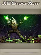 JEStockArt - SciFi - Combat Space Rabbit Firing Dual Weapons - CWB