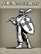 JEStockArt - Fantasy - Classic Cleric With Cross Helm Shield And Long Mace - INB