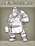 JEStockArt - Fantasy - Bald Blacksmith With Glowing Ring and Goggles - INB