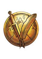 Filler spot colour - items: sword and quill emblem - RPG Stock Art