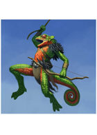 Colour card art - character: humanoid chameleon with bow - RPG Stock Art