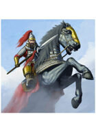 Colour card art - character: mongal rider with spear - RPG Stock Art