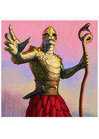 Colour card art - character: humanoid serpent priest - RPG Stock Art