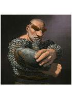 Colour card art - character: dwarf flame priest - RPG Stock Art